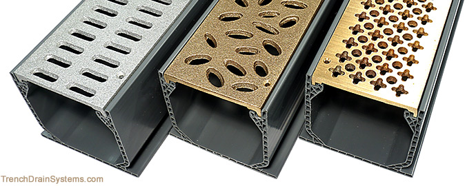 Trench Drain Systems Bronze And Aluminum Grating