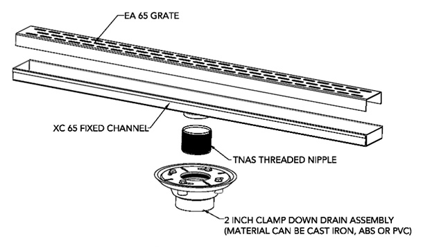 FX stainless shower drain drawing