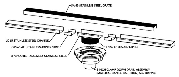Infinity SS(AS) shower drain drawing