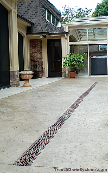 Trench drain systems patio sidewalk drains for Patio drainage